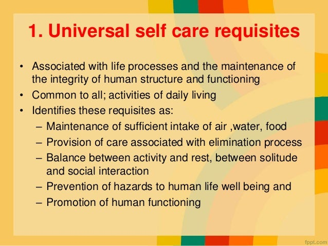 apllication of orems selfcare theory selfcare In the dorothea orem self care deficit nursing theory, the role of a nurse is to fill-in the gaps of care that an individual cannot provide for themselves orem.