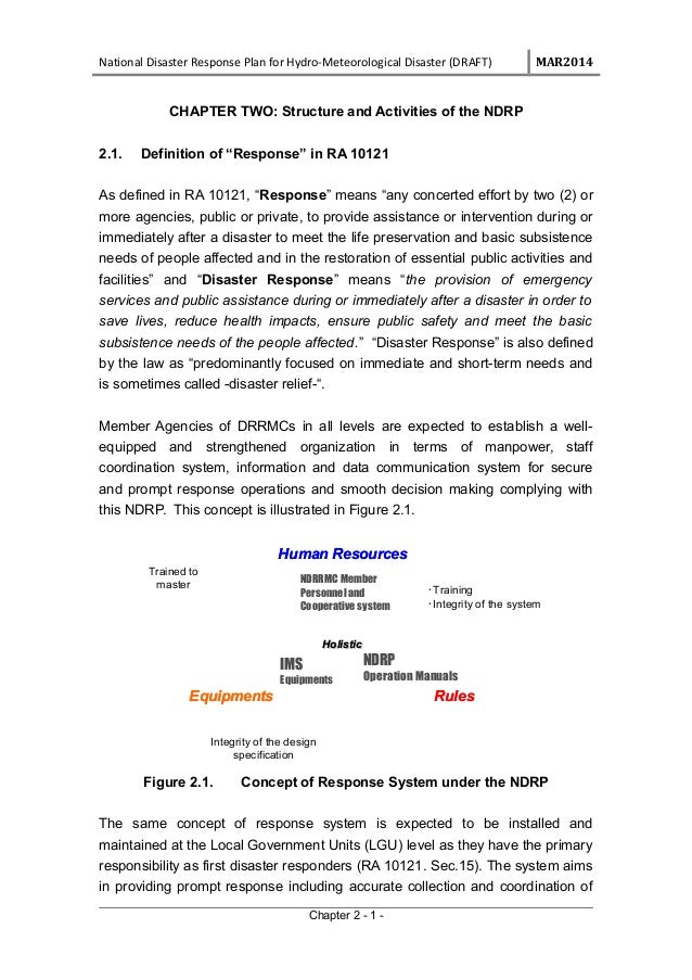 National Disaster Response Plan for Hydro-Meteorological Disaster (DRAFT) MAR2014 CHAPTER TWO: Structure and Activities of...