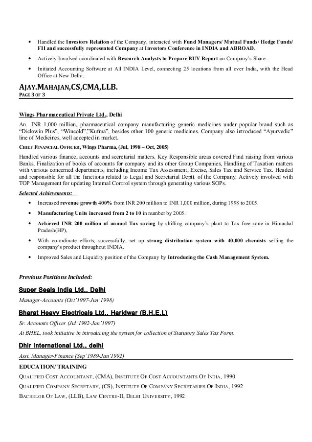 Resume Sample CFO Raul Page  Sample Cfo Resume