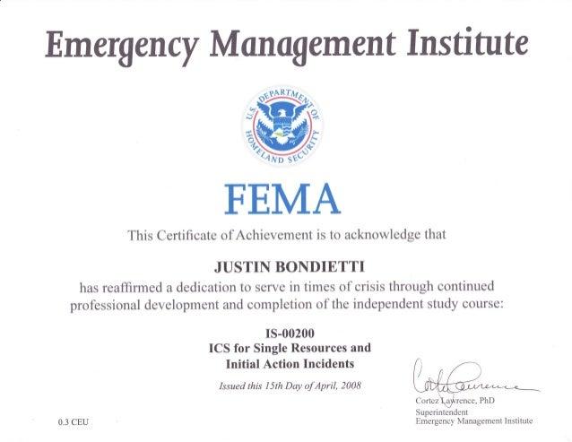 FEMA ICS 200 Certificate