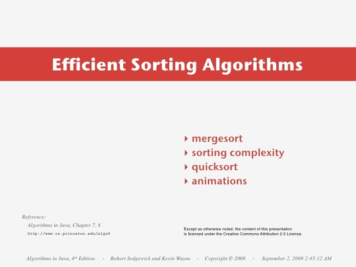 Efficient Sorting Algorithms                                                                      ‣    mergesort          ...