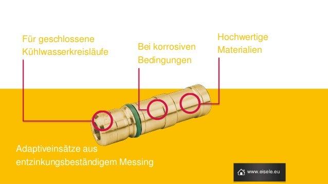 Für geschlossene Kühlwasserkreisläufe Bei korrosiven Bedingungen Hochwertige Materialien Adaptiveinsätze aus entzinkungsbe...