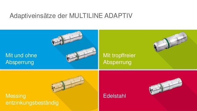 Adaptiveinsätze der MULTILINE ADAPTIV Mit und ohne Absperrung Messing entzinkungsbeständig Mit tropffreier Absperrung Edel...