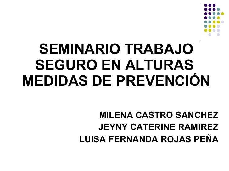 SEMINARIO TRABAJO SEGURO EN ALTURAS  MEDIDAS DE PREVENCIÓN MILENA CASTRO SANCHEZ JEYNY CATERINE RAMIREZ LUISA FERNANDA ROJ...