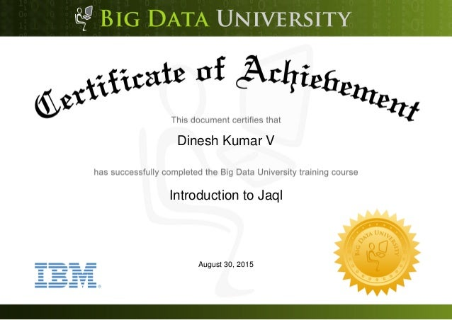 Dinesh Kumar V Introduction to Jaql August 30, 2015