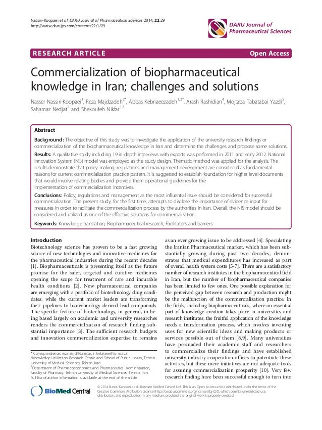 Commercialization of biopharmaceutical knowledge in Iran