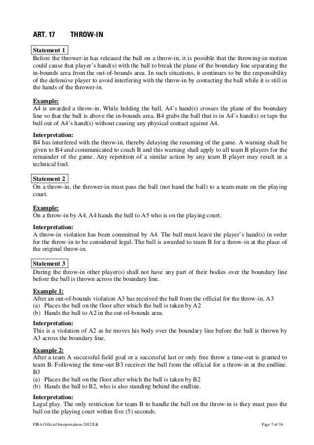 Fiba Official Basketball Rules 2012 Official Interpretations