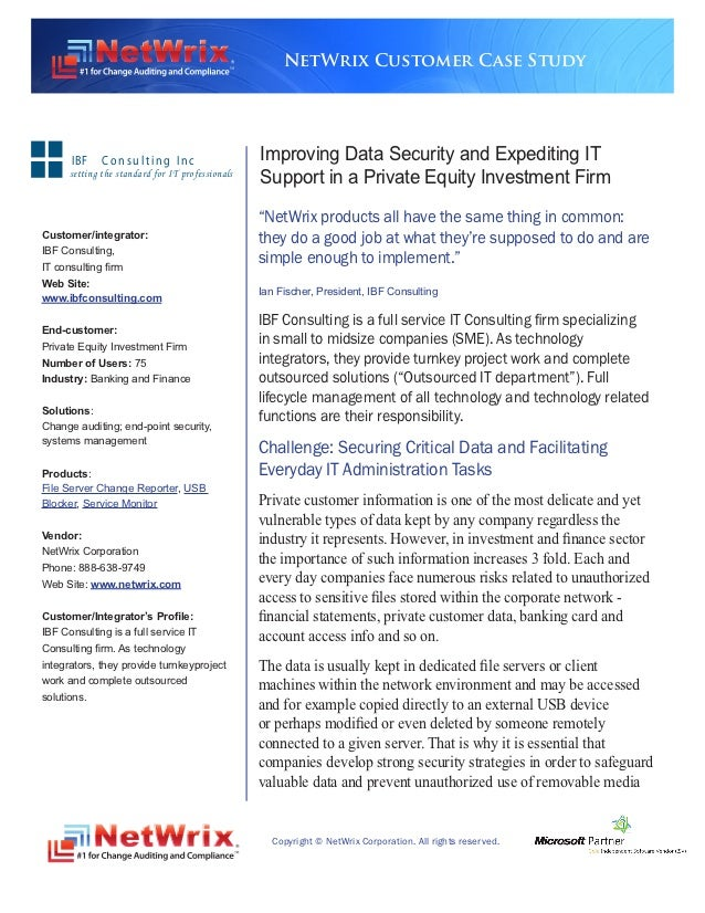 NetWrix Customer Case Study      IBF     Consulting Inc                      Improving Data Security and Expediting IT    ...