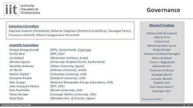 Fondazione Istituto Italiano di Tecnologia 4 Governance Scientific Committee Giorgio Margaritondo (EPFL, Switzerland), Cha...