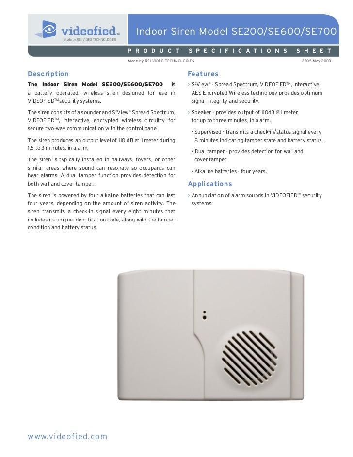 Indoor Siren Model SE200/SE600/SE700                                         P R O D U C T               S P E C I F I C A...