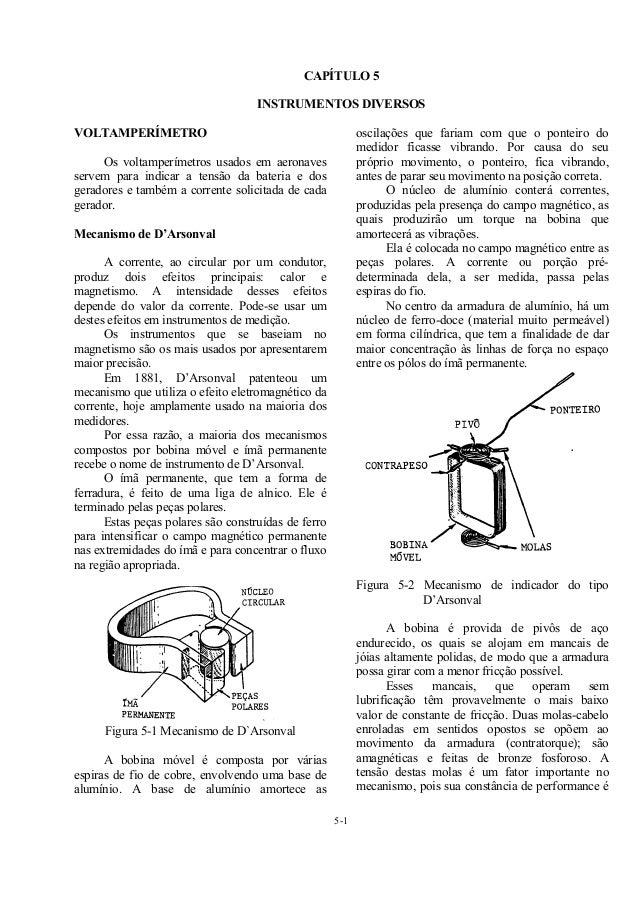 5-1 CAPÍTULO 5 INSTRUMENTOS DIVERSOS VOLTAMPERÍMETRO Os voltamperímetros usados em aeronaves servem para indicar a tensão ...