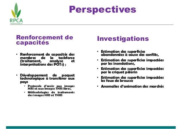Perspectives Renforcement de capacités • Renforcement de capacités des membres de la taskforce (traitement, analyse et int...