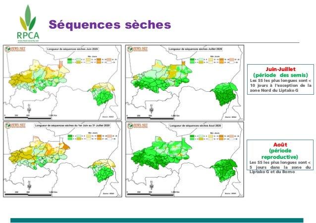 Séquences sèches Juin-Juillet (période des semis) Les SS les plus longues sont < 10 jours à l'exception de la zone Nord du...