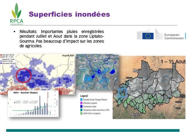 Superficies inondées 1 – 15 Aout  Résultats: Importantes pluies enregistrées pendant Juillet et Aout dans la zone Liptako...