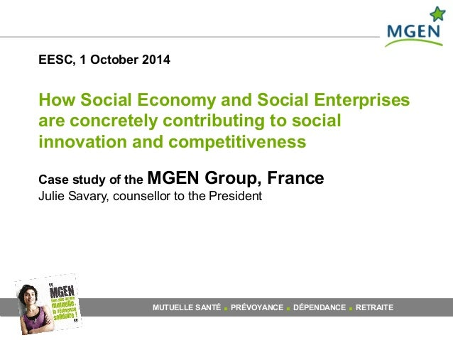 EESC, 1 October 2014  How Social Economy and Social Enterprises  are concretely contributing to social  innovation and com...