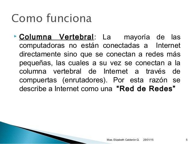  Columna Vertebral: La mayoría de las computadoras no están conectadas a Internet directamente sino que se conectan a red...