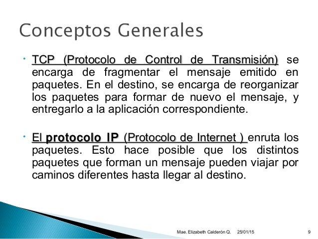 • TCP (TCP (Protocolo de Control de Transmisión)Protocolo de Control de Transmisión) se encarga de fragmentar el mensaje e...