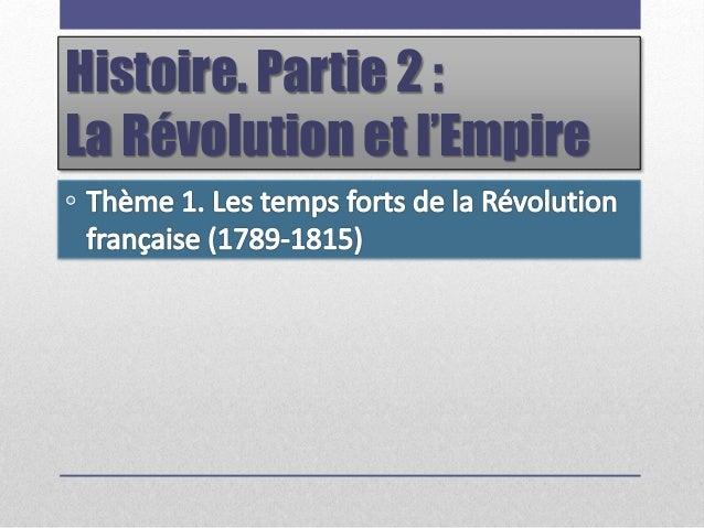 Histoire. Partie 2 : La Révolution et l'Empire