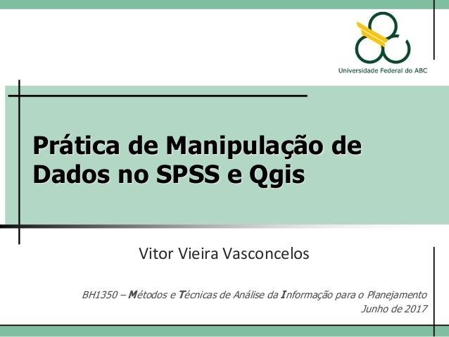 Prática de Manipulação de Dados no SPSS e Qgis Vitor Vieira Vasconcelos BH1350 – Métodos e Técnicas de Análise da Informaç...