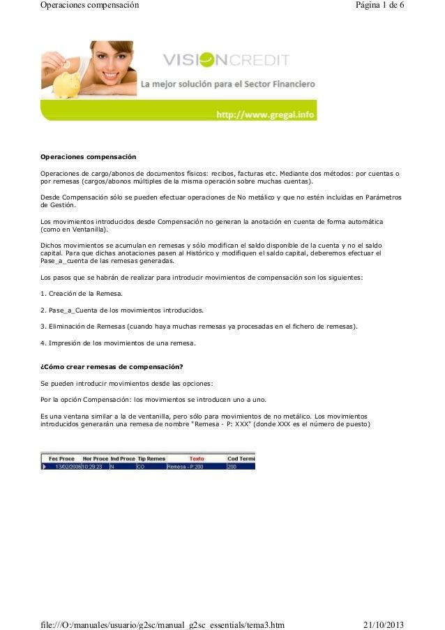 Operaciones compensación  Página 1 de 6  Operaciones compensación Operaciones de cargo/abonos de documentos físicos: recib...