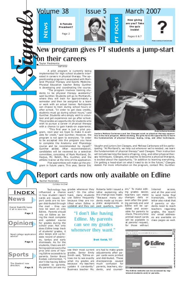 Issue 5  A Female President? Page 2 Photo courtesy of www.nndb.com  March 2007 pt focus  News  Signals Smoke  Volume 38  H...