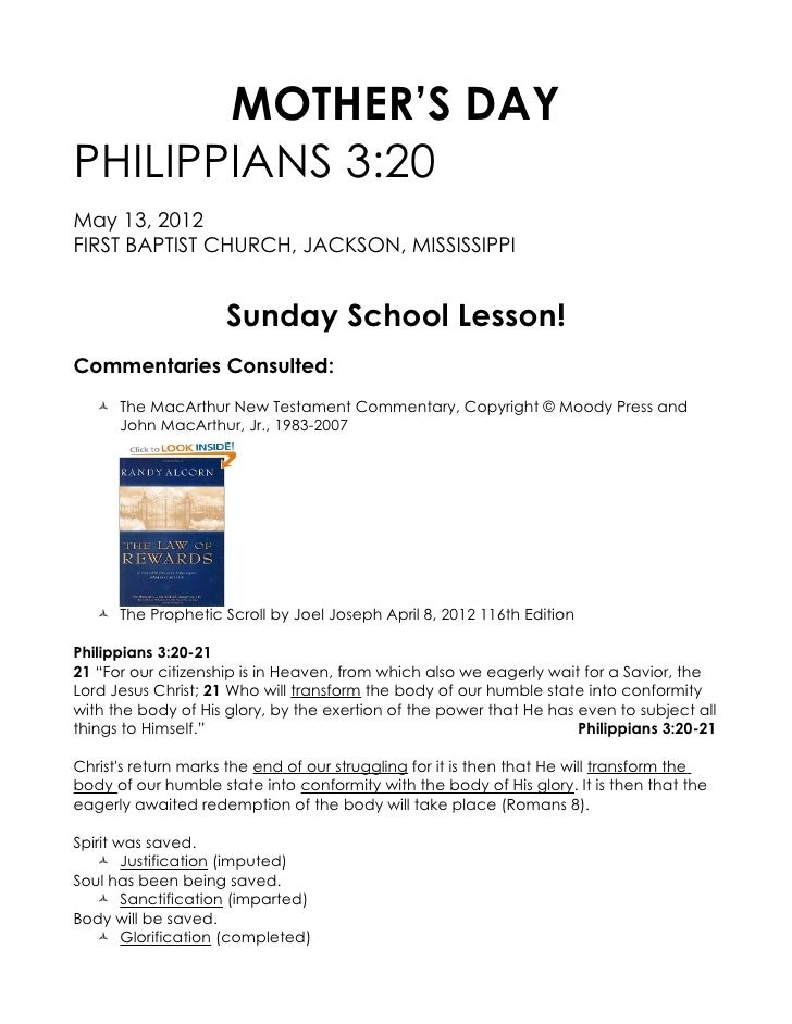 MOTHER'S DAYPHILIPPIANS 3:20May 13, 2012FIRST BAPTIST CHURCH, JACKSON, MISSISSIPPI                     Sunday School Lesso...