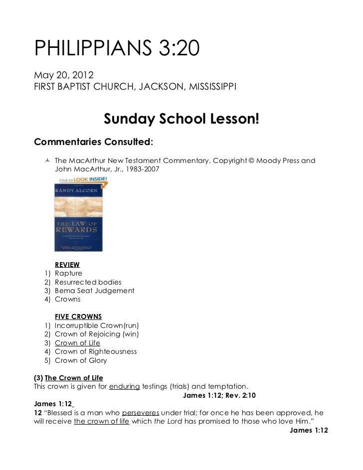 PHILIPPIANS 3:20May 20, 2012FIRST BAPTIST CHURCH, JACKSON, MISSISSIPPI                     Sunday School Lesson!Commentari...