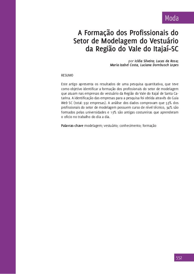 Moda  A Formação dos Profissionais do Setor de Modelagem do Vestuário da Região do Vale do Itajaí–SC por Icléia Silveira; ...