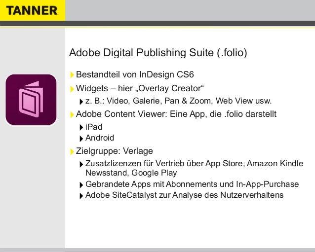 """Adobe Digital Publishing Suite (.folio)‣Bestandteil von InDesign CS6‣Widgets – hier """"Overlay Creator""""‣z. B.: Video, Galeri..."""