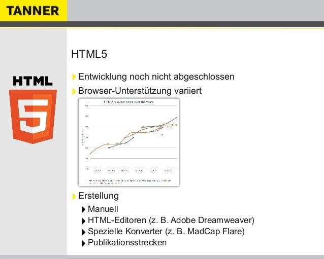 HTML5‣Entwicklung noch nicht abgeschlossen‣Browser-Unterstützung variiert‣Erstellung‣Manuell‣HTML-Editoren (z. B. Adobe Dr...