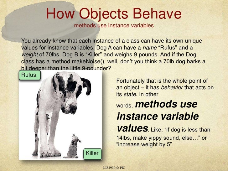 How Objects Behavemethods use instance variables<br />LIS4930 © PIC<br />You already know that each instance of a class ca...