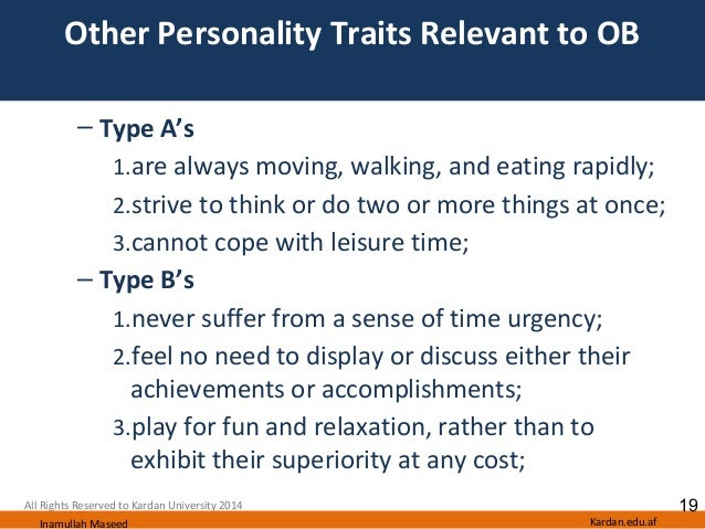 Traits personality type a Personality