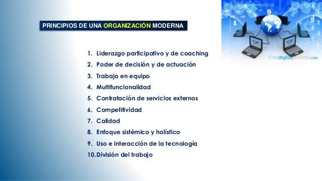 PRINCIPIOS DE UNA ORGANIZACIÓN MODERNA  1. Liderazgo participativo y de coaching  2. Poder de decisión y de actuación  3. ...