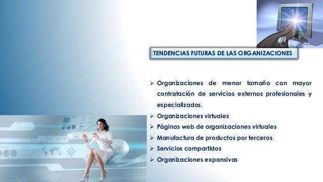 TENDENCIAS FUTURAS DE LAS ORGANIZACIONES   Organizaciones de menor tamaño con mayor  contratación de servicios externos p...