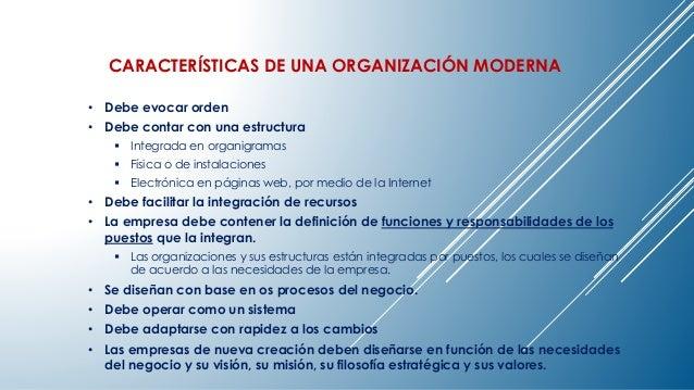CARACTERÍSTICAS DE UNA ORGANIZACIÓN MODERNA  • Debe evocar orden  • Debe contar con una estructura   Integrada en organig...