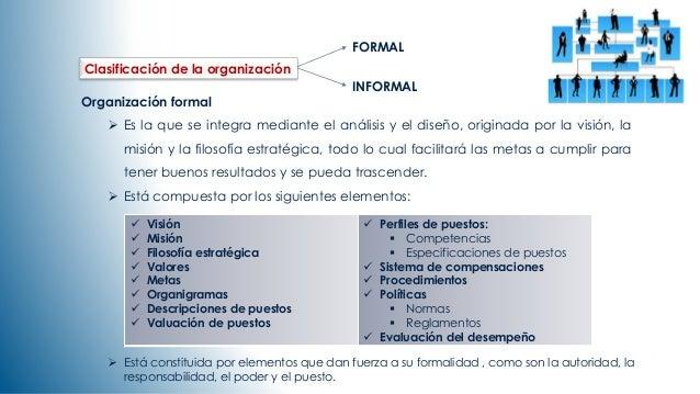 Clasificación de la organización  Organización formal   Es la que se integra mediante el análisis y el diseño, originada ...
