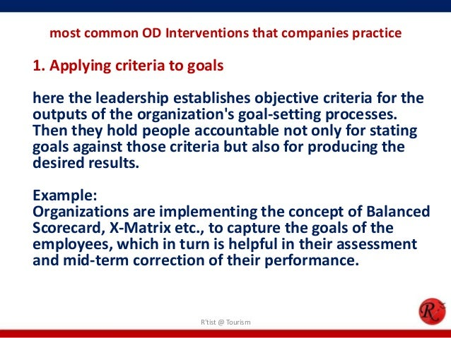 od interventions organizational improvement and individual Organizational development (od) interventions are carefully designed actions or interventions which help a team, department or organization to either achieve a goal or solve a a team that needs to improve its performance to achieve a new target defining each person's role in implementing your team strategies.