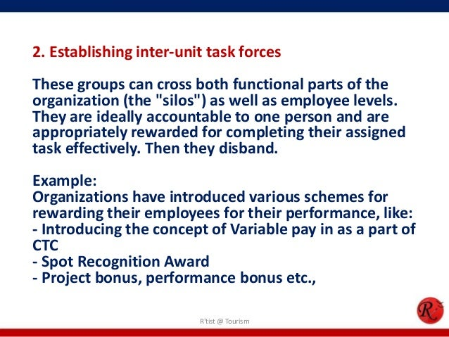 """2. Establishing inter-unit task forcesThese groups can cross both functional parts of theorganization (the """"silos"""") as wel..."""