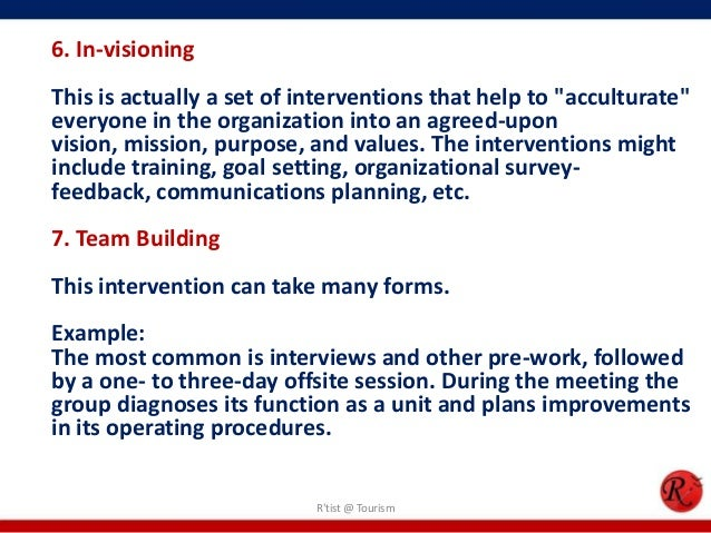 """6. In-visioningThis is actually a set of interventions that help to """"acculturate""""everyone in the organization into an agre..."""