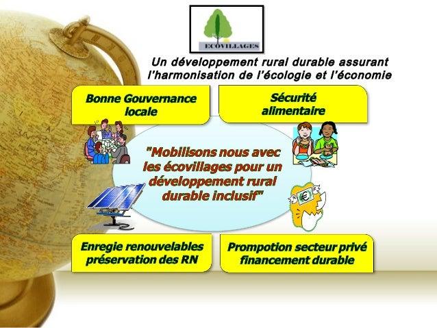 Un développement rural durable assurant l'harmonisation de l'écologie et l'économie