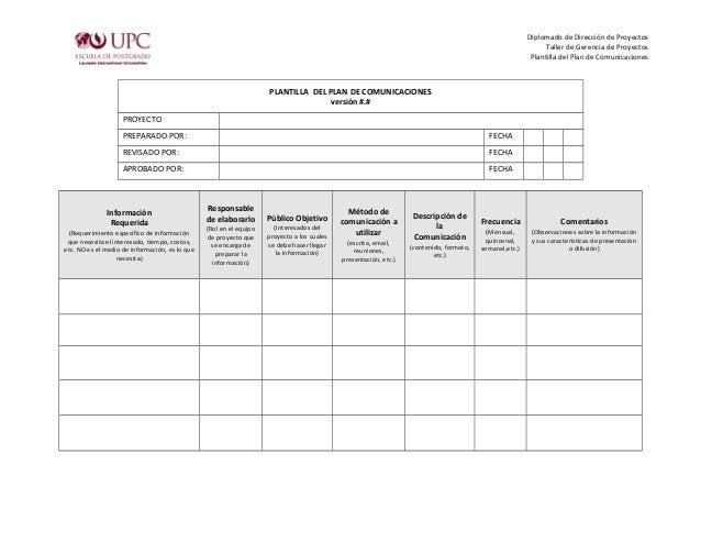 Diplomado de Dirección de Proyectos Taller de Gerencia de Proyectos Plantilla del Plan de Comunicaciones PLANTILLA DEL PLA...