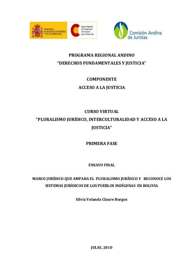 """PROGRAMA REGIONAL ANDINO """"DERECHOS FUNDAMENTALES Y JUSTICIA"""" COMPONENTE ACCESO A LA JUSTICIA CURSO VIRTUAL """"PLURALISMO JUR..."""