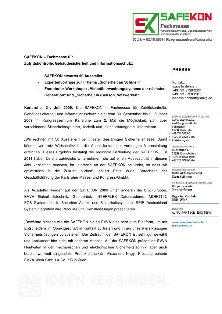 SAFEKON – Fachmesse fürZutrittskontrolle, Gebäudesicherheit und Informationsschutz:                                       ...