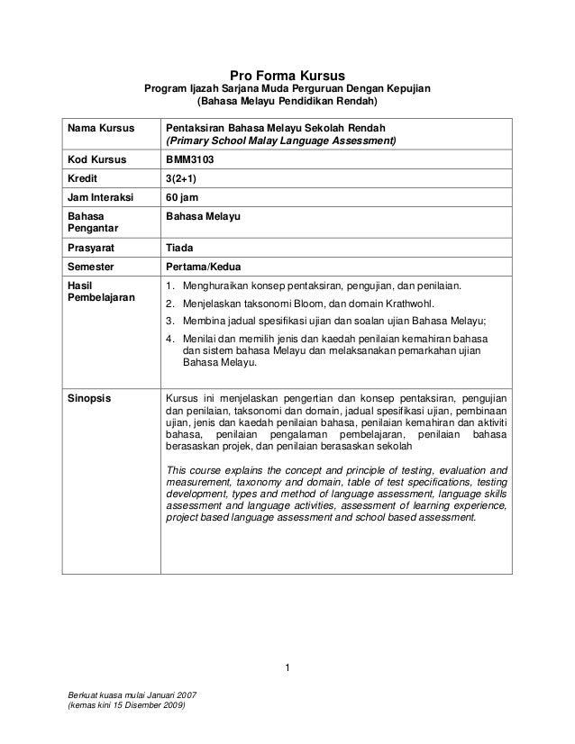 Pro Forma Kursus                   Program Ijazah Sarjana Muda Perguruan Dengan Kepujian                             (Baha...