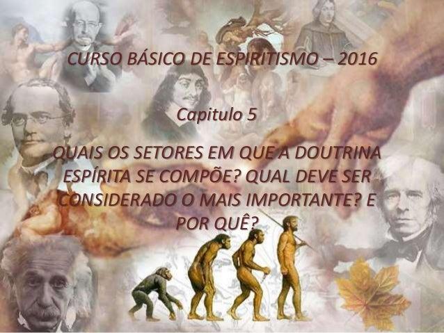 CURSO BÁSICO DE ESPIRITISMO – 2016 Capitulo 5 QUAIS OS SETORES EM QUE A DOUTRINA ESPÍRITA SE COMPÕE? QUAL DEVE SER CONSIDE...