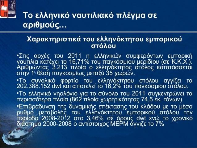 Το ελληνικό ναυτιλιακό πλέγμα σεαριθμούς…Χαρακτηριστικά του ελληνόκτητου εμπορικούστόλου•Στις αρχές του 2011 η ελληνικών σ...