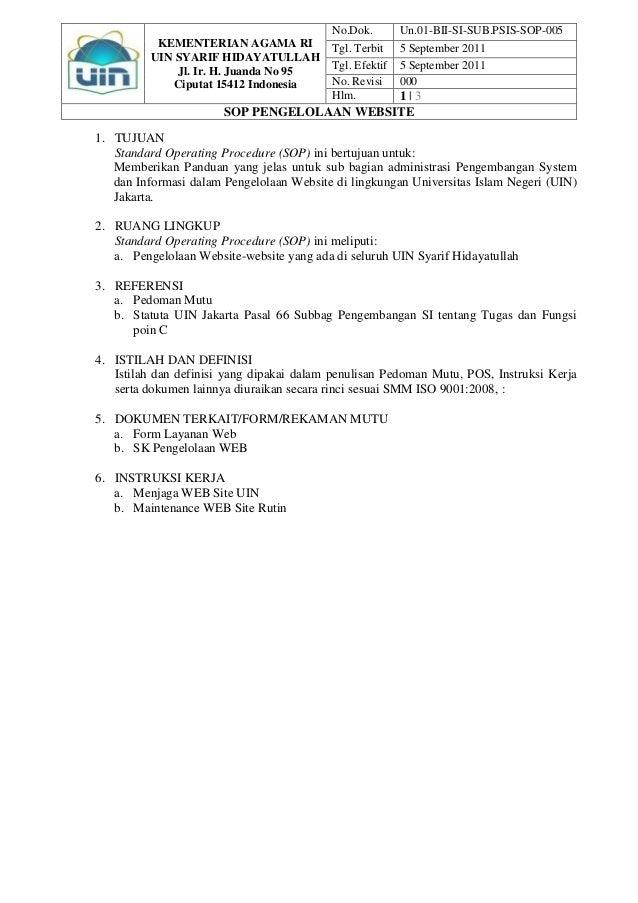 No.Dok.        Un.01-BII-SI-SUB.PSIS-SOP-005           KEMENTERIAN AGAMA RI            Tgl. Terbit    5 September 2011    ...