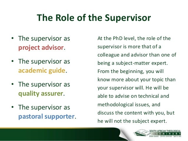 Thesis supervisor role