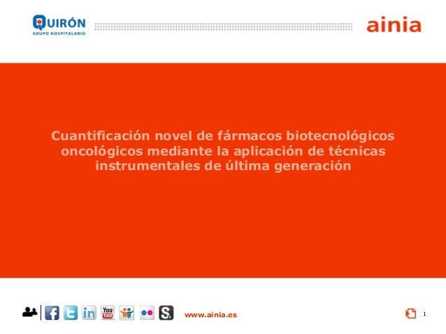 www.ainia.es 1 Cuantificación novel de fármacos biotecnológicos oncológicos mediante la aplicación de técnicas instrumenta...