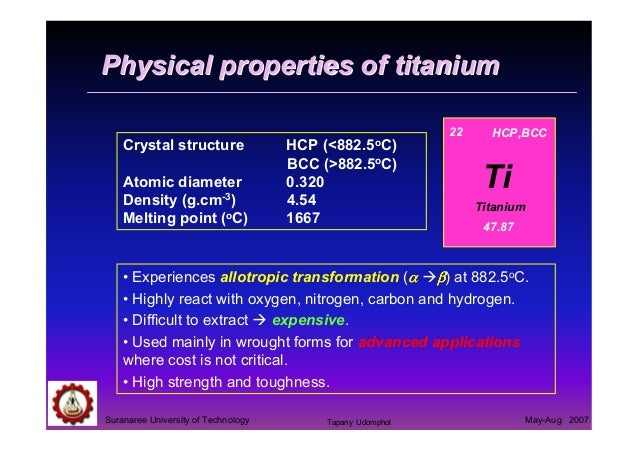 Physical And Chemical Properties Of Titanium Alloys